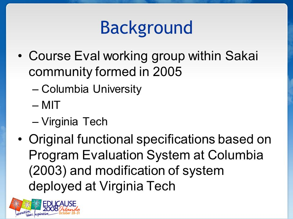 Background Maryland joined effort in 2006 through joint membership in Learning Technologies Consortium with Virginia Tech Cambridge joined project in 2007 when lead developer moved there Current java-based Sakai module being developed by Cambridge, Maryland, Michigan and Virginia Tech