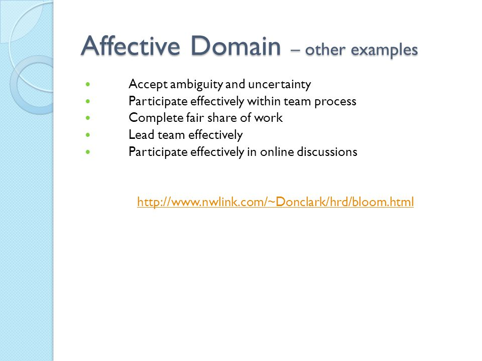 Affective Domain – other examples Accept ambiguity and uncertainty Participate effectively within team process Complete fair share of work Lead team e