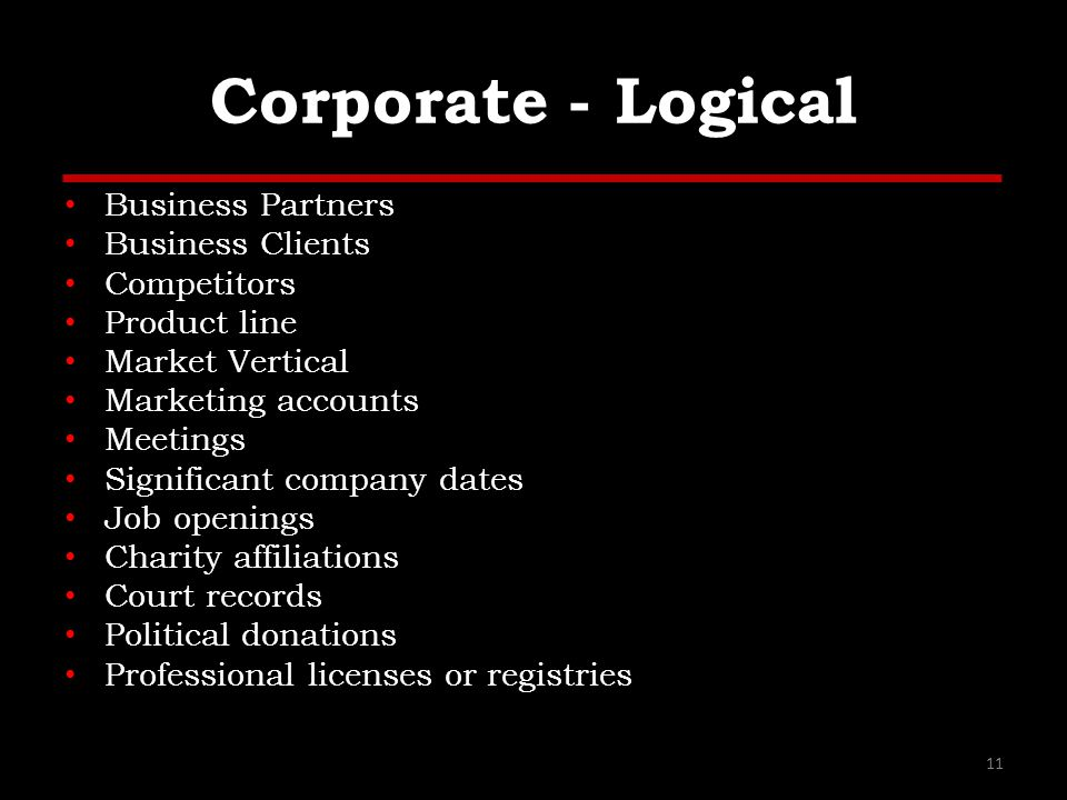 Corporate - Logical Business Partners Business Clients Competitors Product line Market Vertical Marketing accounts Meetings Significant company dates