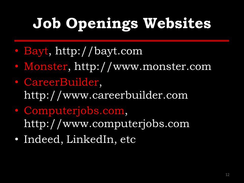 Job Openings Websites Bayt, http://bayt.com Monster, http://www.monster.com CareerBuilder, http://www.careerbuilder.com Computerjobs.com, http://www.c