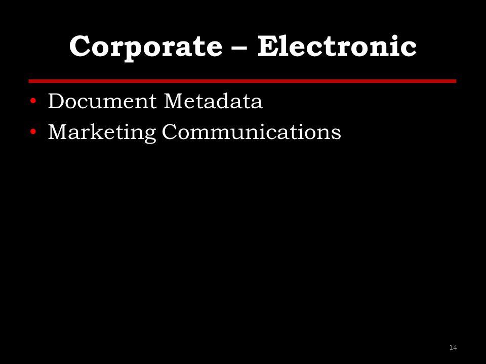 Corporate – Electronic Document Metadata Marketing Communications 14