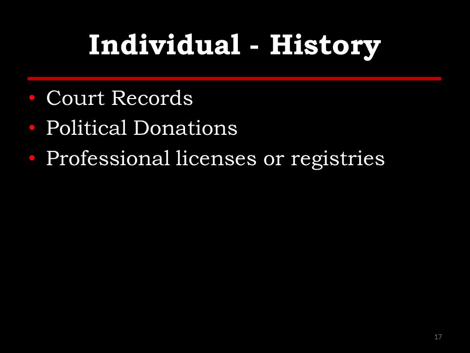 Individual - History Court Records Political Donations Professional licenses or registries 17