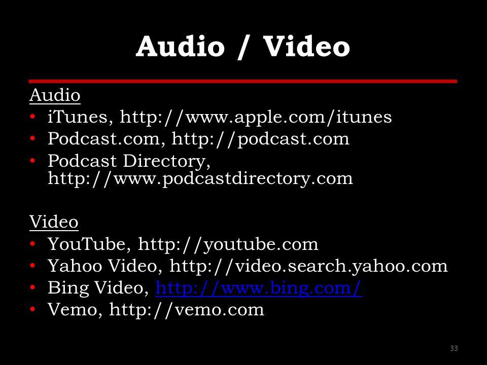 Audio / Video Audio iTunes, http://www.apple.com/itunes Podcast.com, http://podcast.com Podcast Directory, http://www.podcastdirectory.com Video YouTu