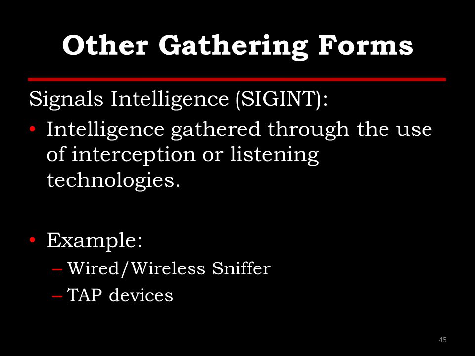Other Gathering Forms Signals Intelligence (SIGINT): Intelligence gathered through the use of interception or listening technologies. Example: – Wired