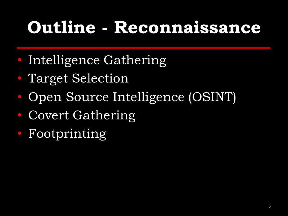 Outline - Reconnaissance Intelligence Gathering Target Selection Open Source Intelligence (OSINT) Covert Gathering Footprinting 5