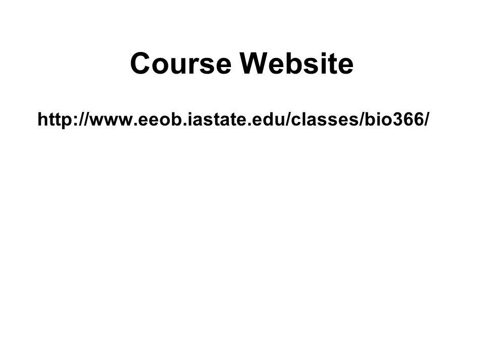 Course Website http://www.eeob.iastate.edu/classes/bio366/