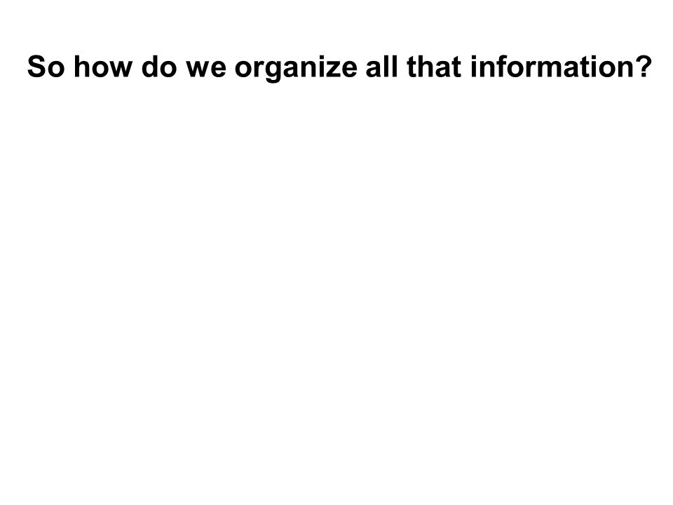 So how do we organize all that information?
