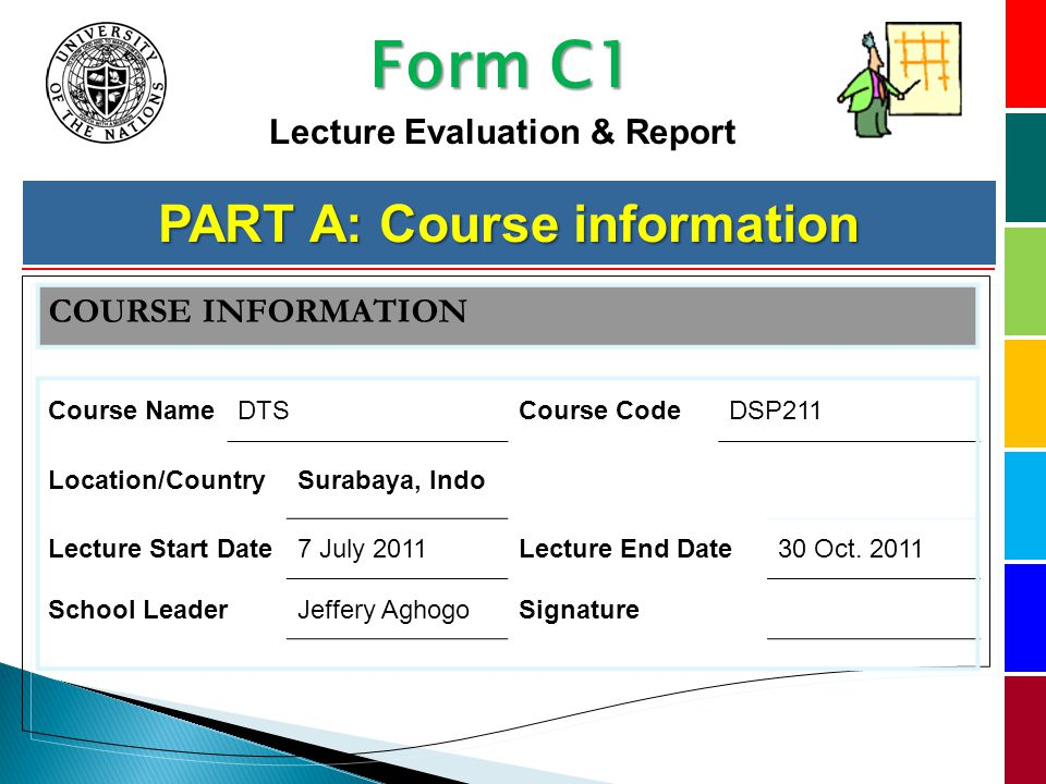 Part A – Course Information COURSE INFORMATION Course NameDTSCourse CodeDSP211 Location/CountrySurabaya, Indo Lecture Start Date7 July 2011Lecture End Date30 Oct.