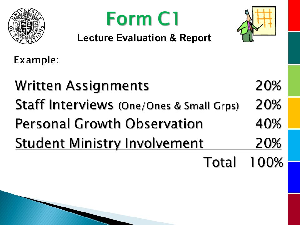 Written Assignments 20% Staff Interviews (One/Ones & Small Grps) 20% Personal Growth Observation 40% Student Ministry Involvement 20% Total 100% Example: Form C1 Lecture Evaluation & Report