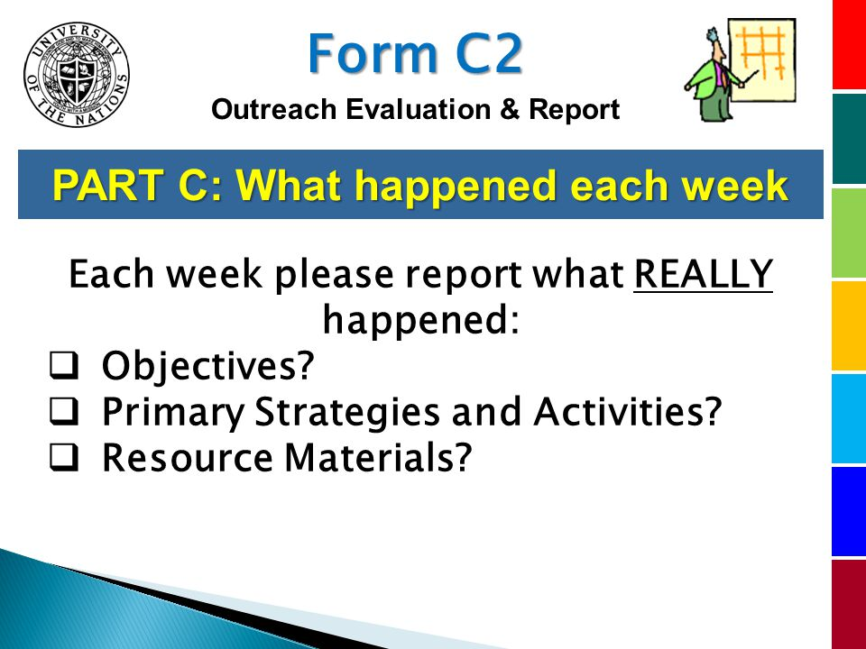 PART C: What happened each week Each week please report what REALLY happened: Objectives.