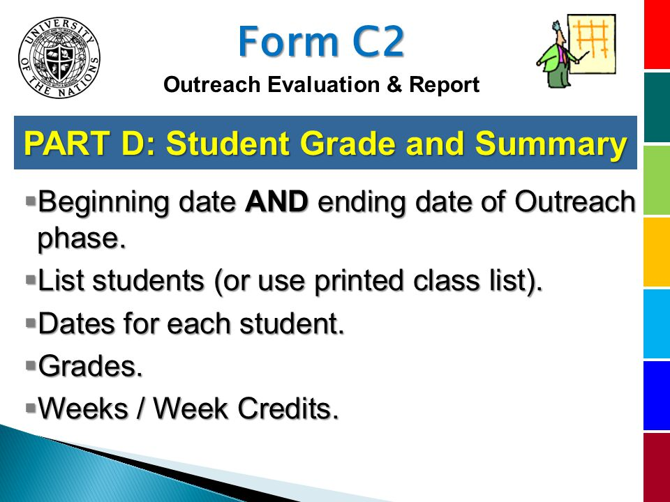 PART D: Student Grade and Summary Beginning date AND ending date of Outreach phase.