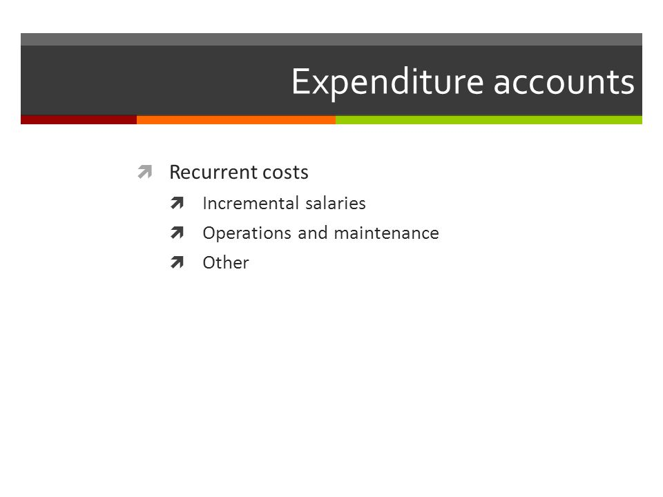 Expenditure accounts Recurrent costs Incremental salaries Operations and maintenance Other