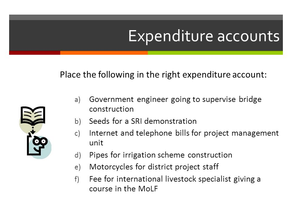 Expenditure accounts Place the following in the right expenditure account: a) Government engineer going to supervise bridge construction b) Seeds for