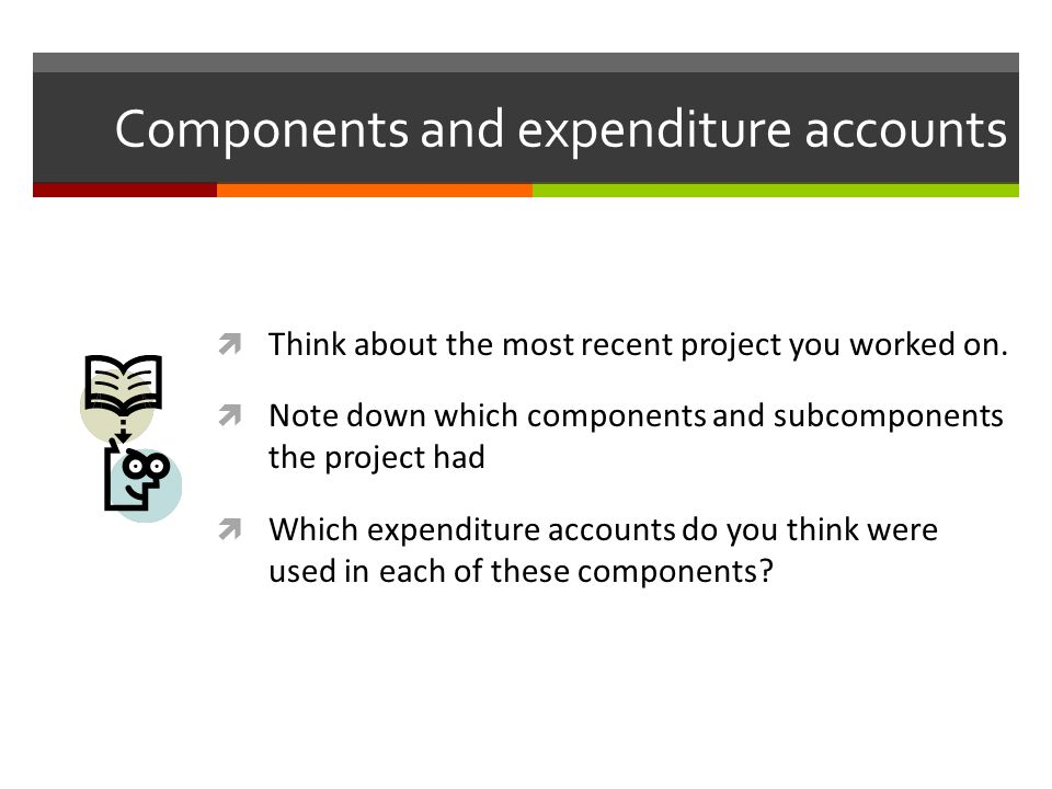 Components and expenditure accounts Think about the most recent project you worked on. Note down which components and subcomponents the project had Wh