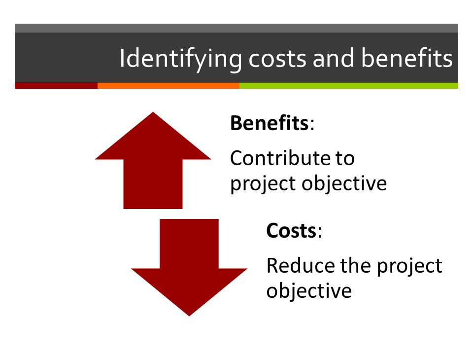 Identifying costs and benefits Benefits: Contribute to project objective Costs: Reduce the project objective