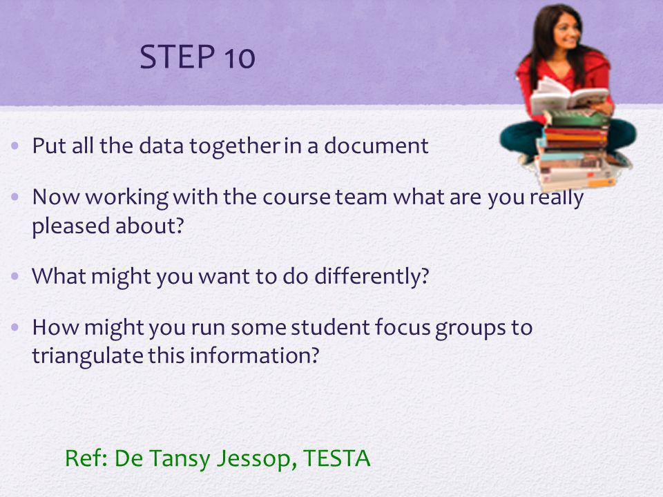 STEP 10 Put all the data together in a document Now working with the course team what are you really pleased about.