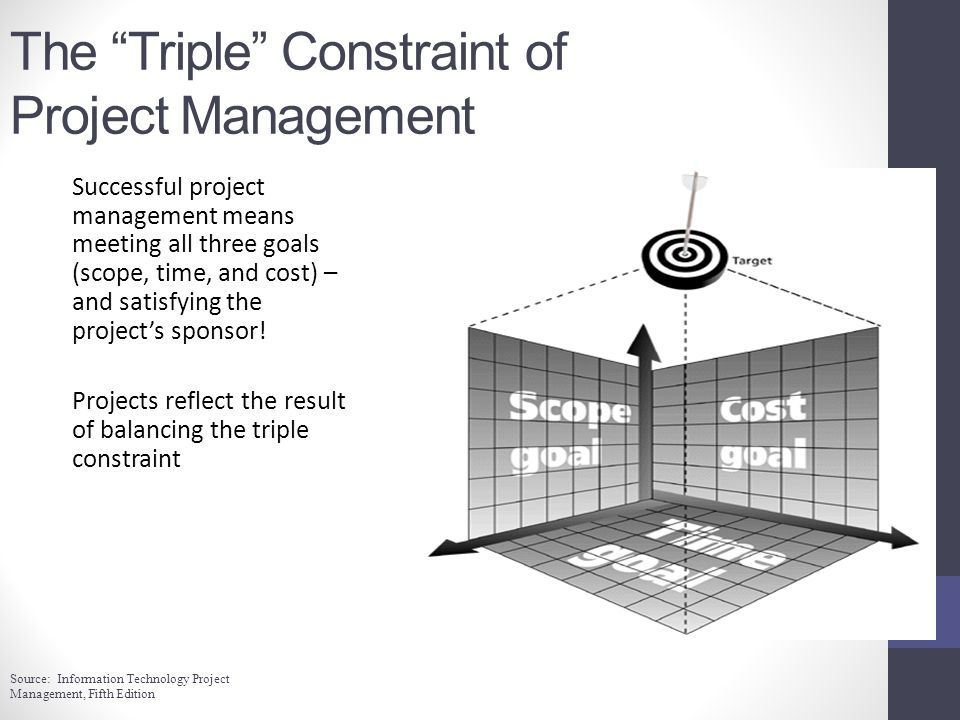The Triple Constraint of Project Management Successful project management means meeting all three goals (scope, time, and cost) – and satisfying the projects sponsor.