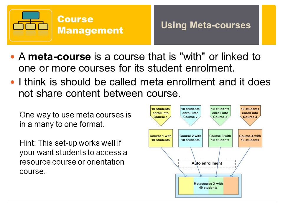 Course Management A meta-course is a course that is with or linked to one or more courses for its student enrolment.