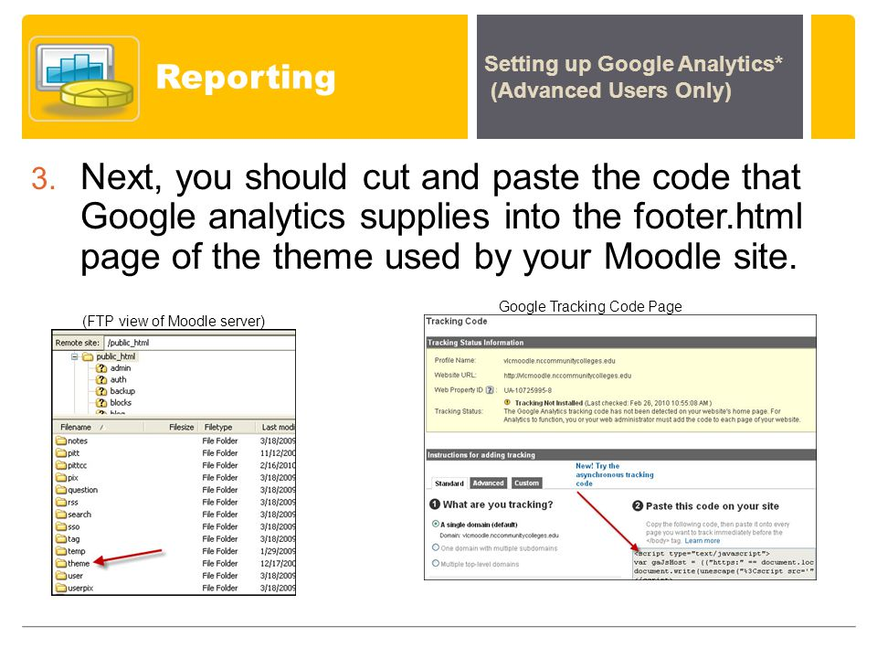 Reporting Setting up Google Analytics* (Advanced Users Only) 3.