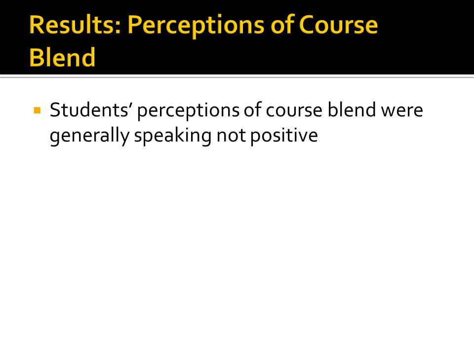 Students perceptions of course blend were generally speaking not positive