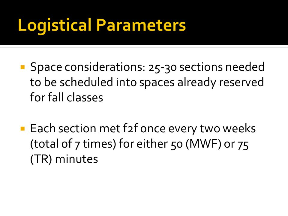 Space considerations: 25-30 sections needed to be scheduled into spaces already reserved for fall classes Each section met f2f once every two weeks (total of 7 times) for either 50 (MWF) or 75 (TR) minutes