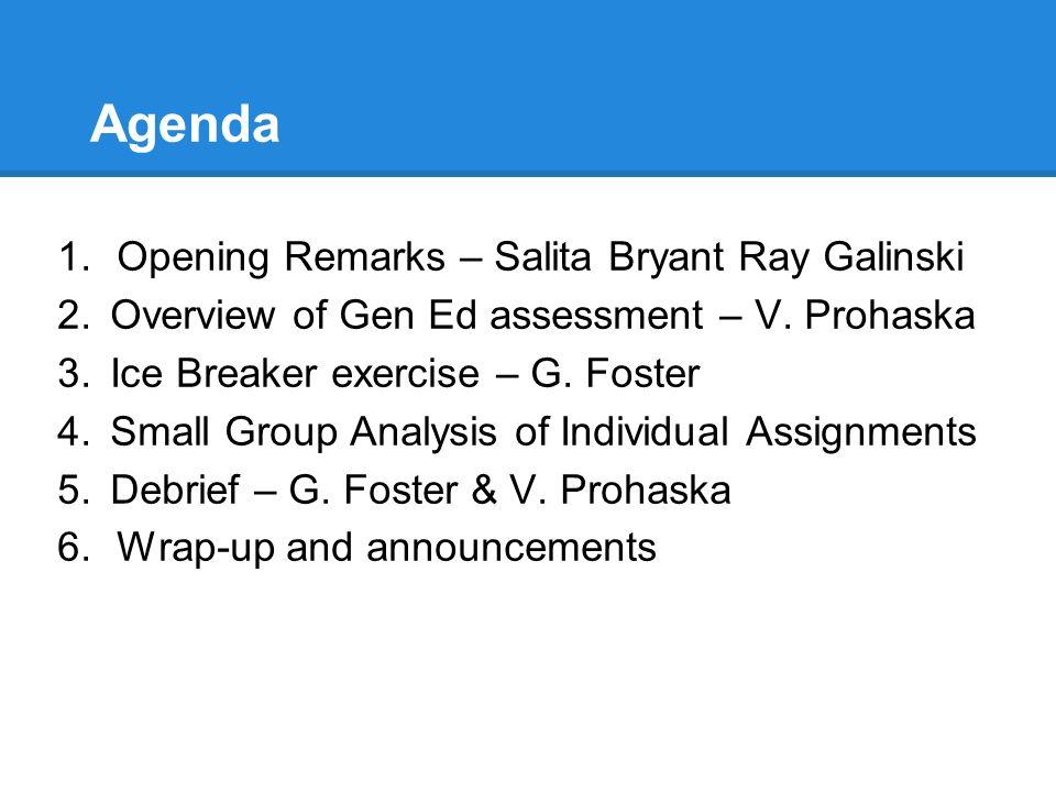 Agenda 1.Opening Remarks – Salita Bryant Ray Galinski 2.Overview of Gen Ed assessment – V. Prohaska 3.Ice Breaker exercise – G. Foster 4.Small Group A