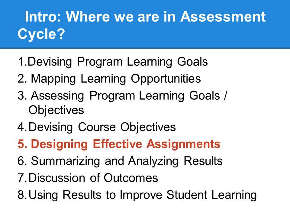 Program / Course / Assignment Linkage Program Goals Program Objectives (ELO) / Accreditation Standards Course Objectives Course Assignments Learning Outcomes Grades