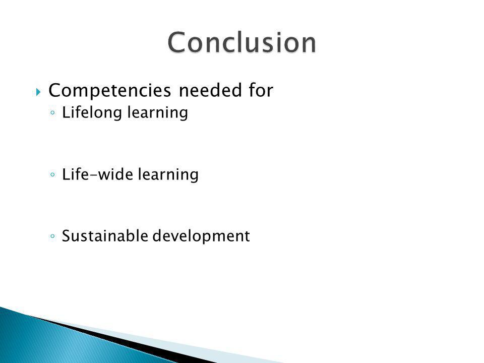 Competencies needed for Lifelong learning Life-wide learning Sustainable development