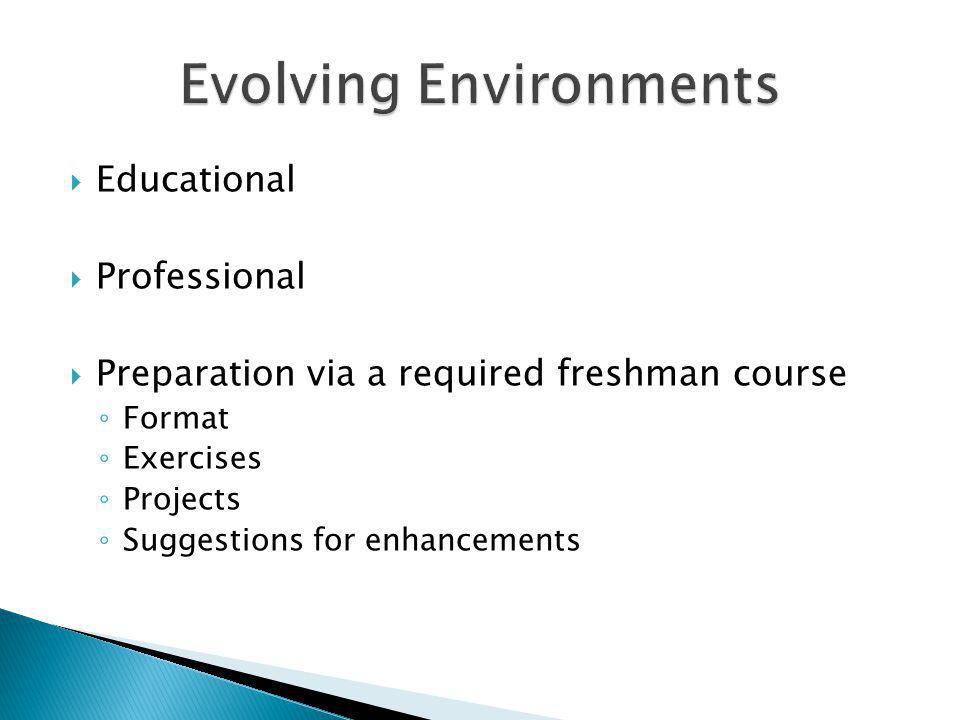 Educational Professional Preparation via a required freshman course Format Exercises Projects Suggestions for enhancements