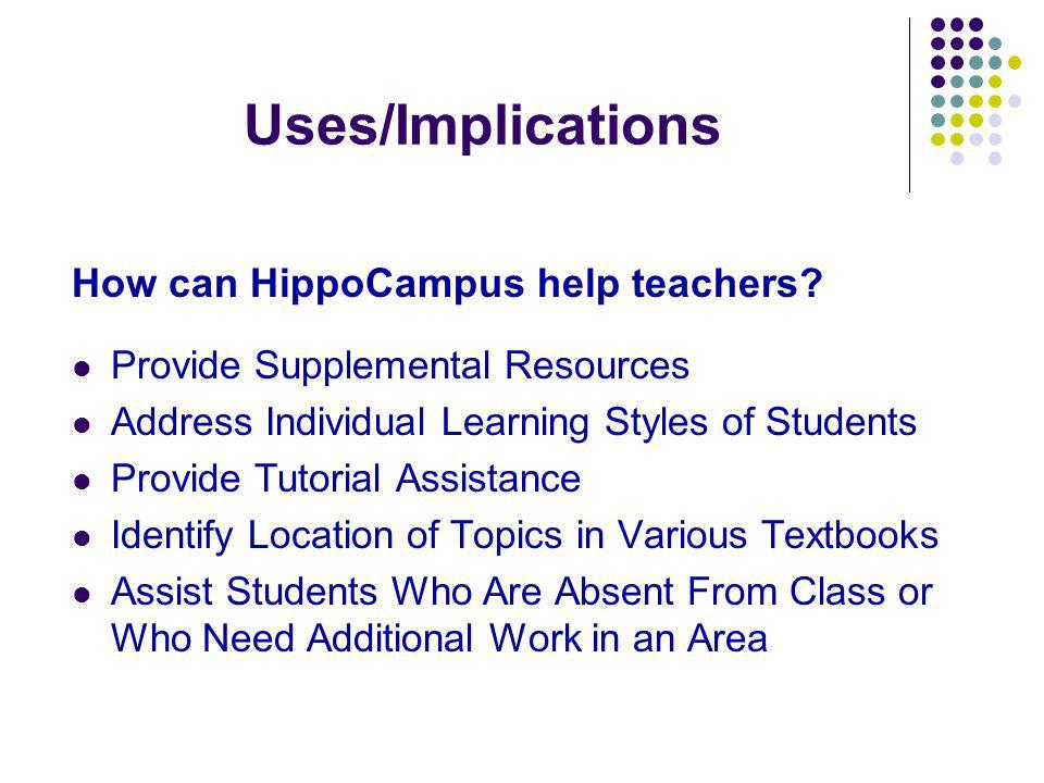 Uses/Implications How can HippoCampus help teachers.