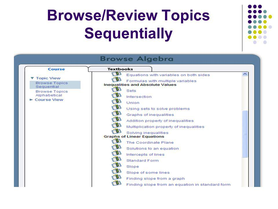 Browse/Review Topics Sequentially