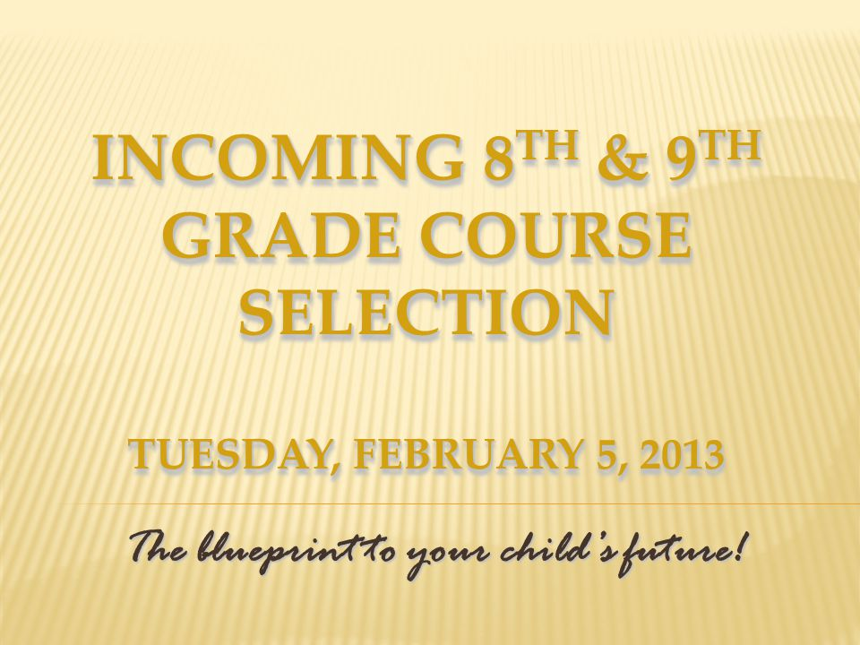 Incoming 9 th Grade Course Selection