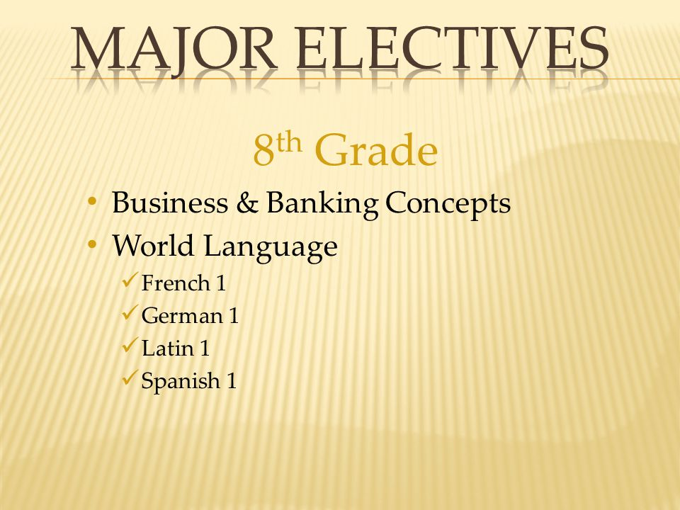 8 th Grade Business & Banking Concepts World Language French 1 German 1 Latin 1 Spanish 1