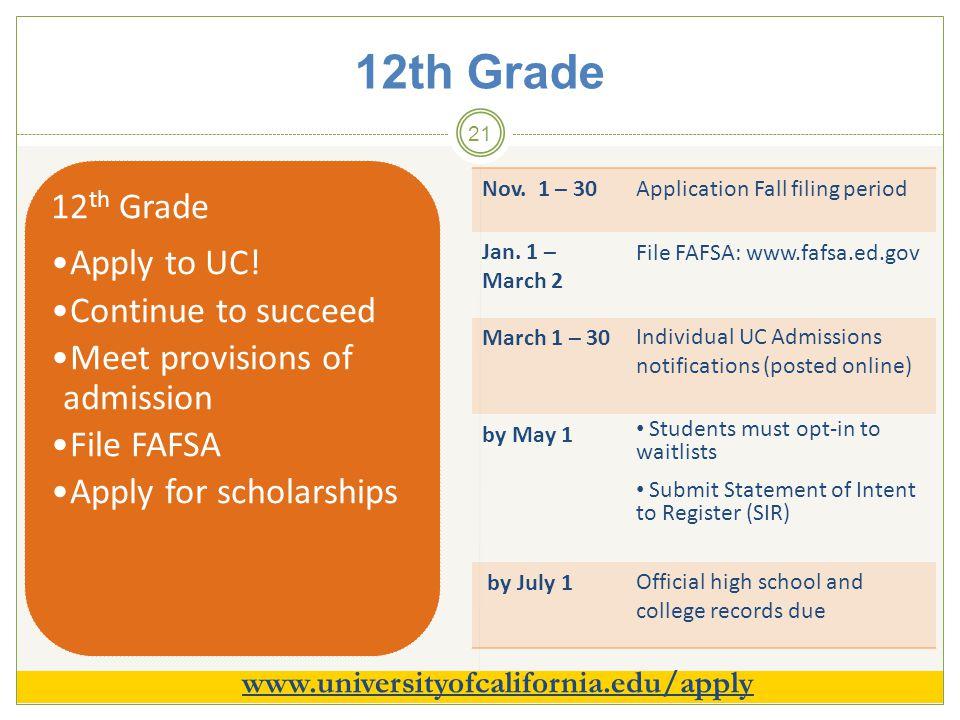 12th Grade 21 12 th Grade Apply to UC.