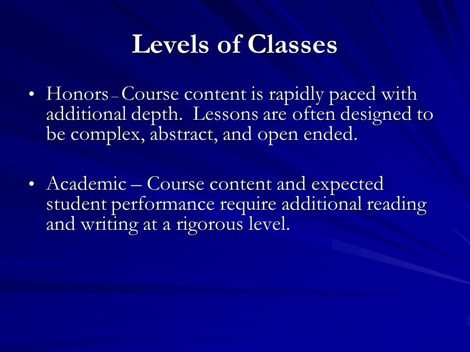 Levels of Classes Honors – Course content is rapidly paced with additional depth. Lessons are often designed to be complex, abstract, and open ended.