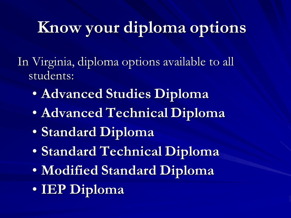 Know your diploma options In Virginia, diploma options available to all students: Advanced Studies DiplomaAdvanced Studies Diploma Advanced Technical