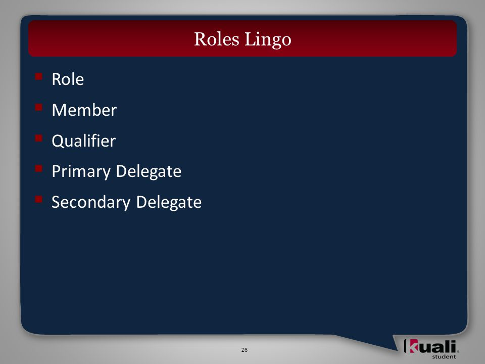 26 Role Member Qualifier Primary Delegate Secondary Delegate Roles Lingo