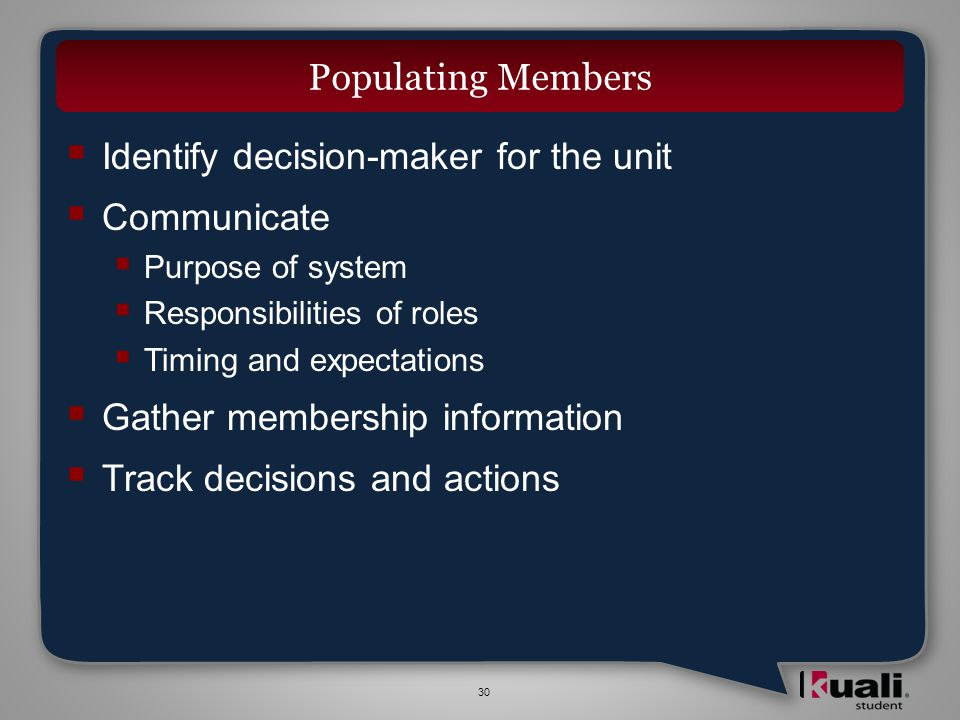 30 Identify decision-maker for the unit Communicate Purpose of system Responsibilities of roles Timing and expectations Gather membership information Track decisions and actions Populating Members