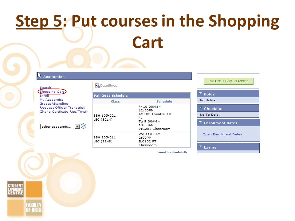 Step 5: Put courses in the Shopping Cart