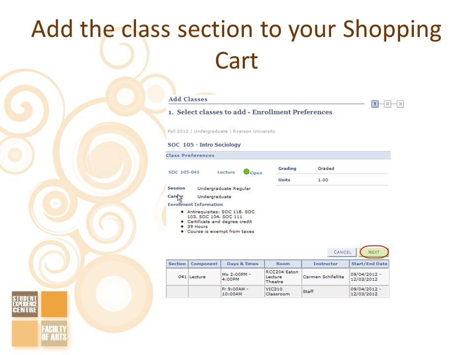Add the class section to your Shopping Cart
