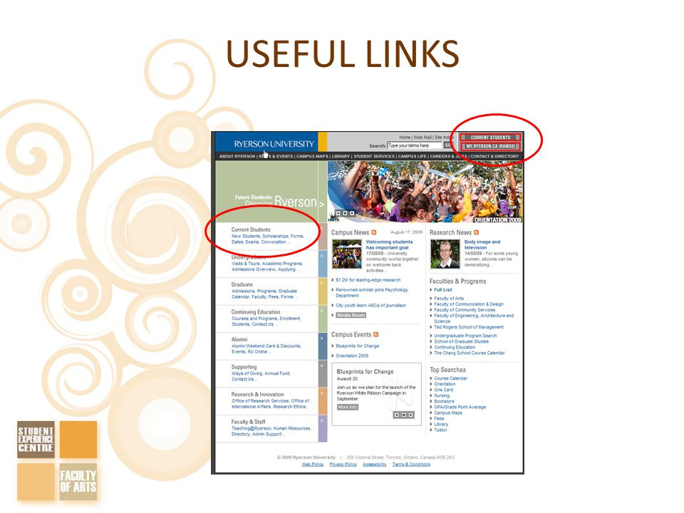 USEFUL LINKS www.ryerson.ca