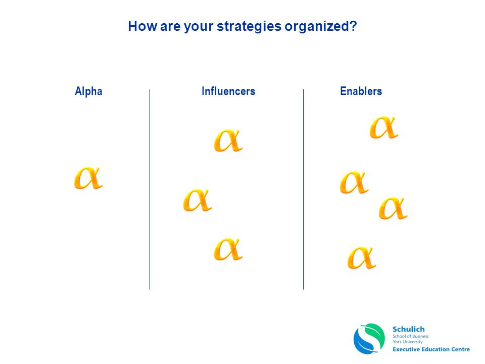How are your strategies organized? EnablersInfluencersAlpha