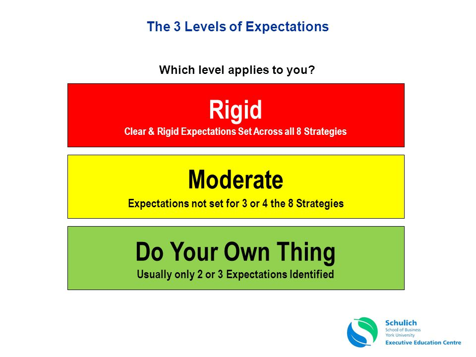 The 3 Levels of Expectations Rigid Clear & Rigid Expectations Set Across all 8 Strategies Do Your Own Thing Usually only 2 or 3 Expectations Identifie