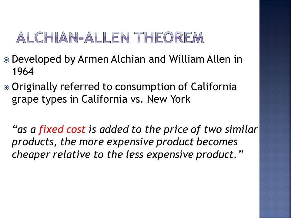 Developed by Armen Alchian and William Allen in 1964 Originally referred to consumption of California grape types in California vs. New York as a fixe