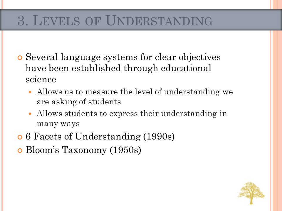 Several language systems for clear objectives have been established through educational science Allows us to measure the level of understanding we are