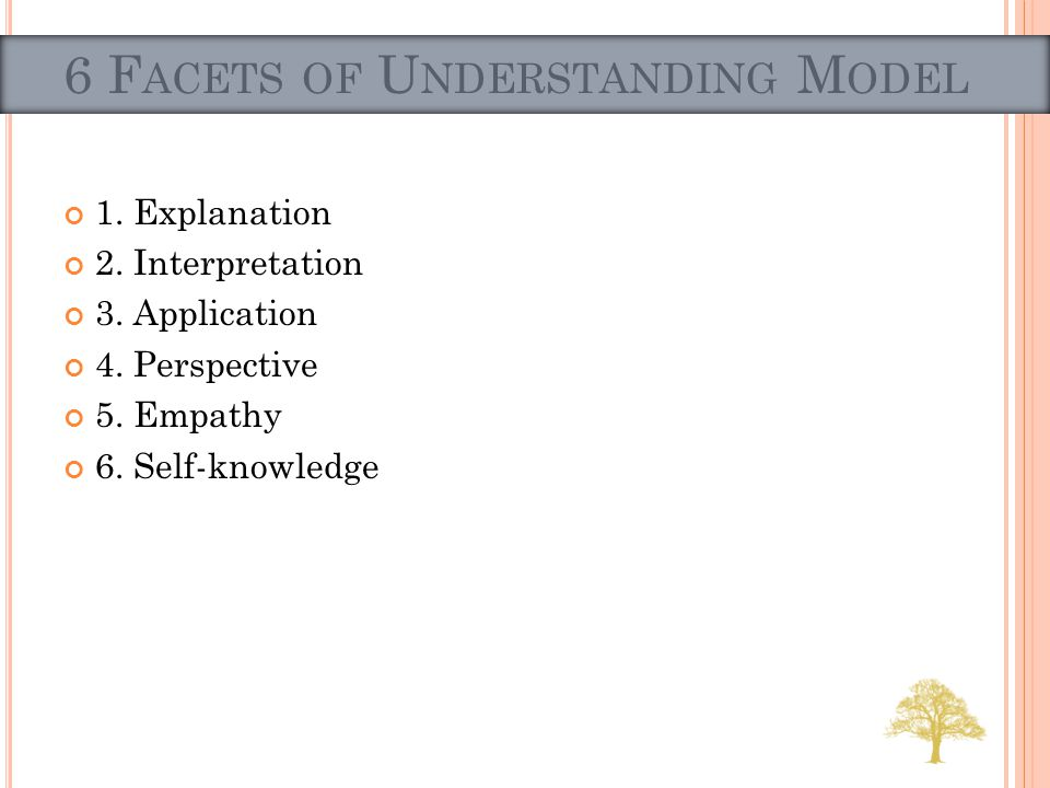 1. Explanation 2. Interpretation 3. Application 4. Perspective 5. Empathy 6. Self-knowledge 6 F ACETS OF U NDERSTANDING M ODEL