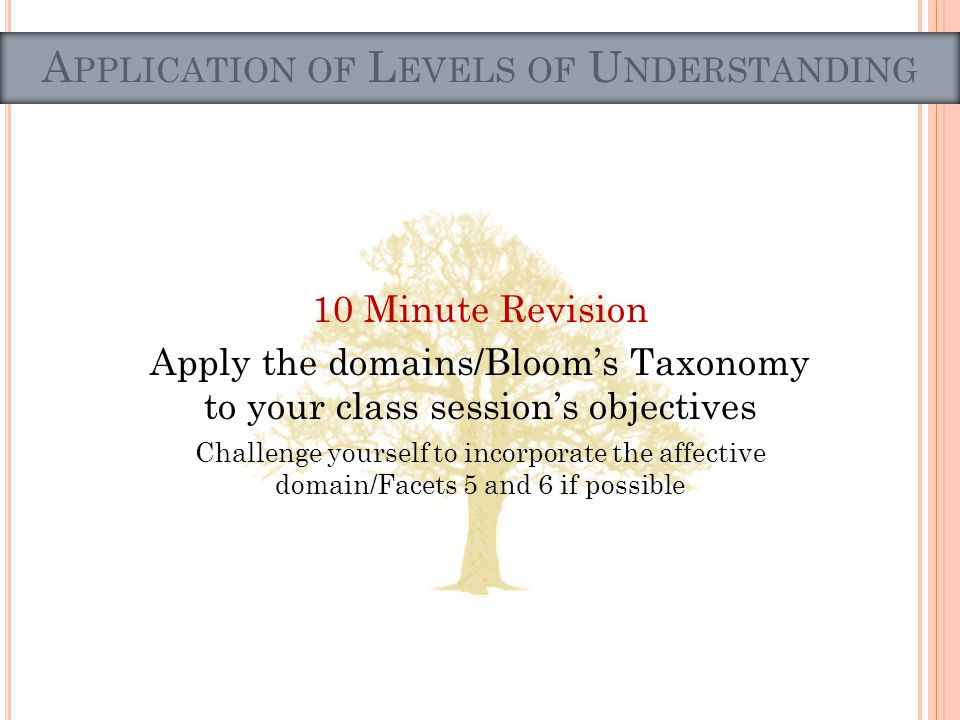 10 Minute Revision Apply the domains/Blooms Taxonomy to your class sessions objectives Challenge yourself to incorporate the affective domain/Facets 5