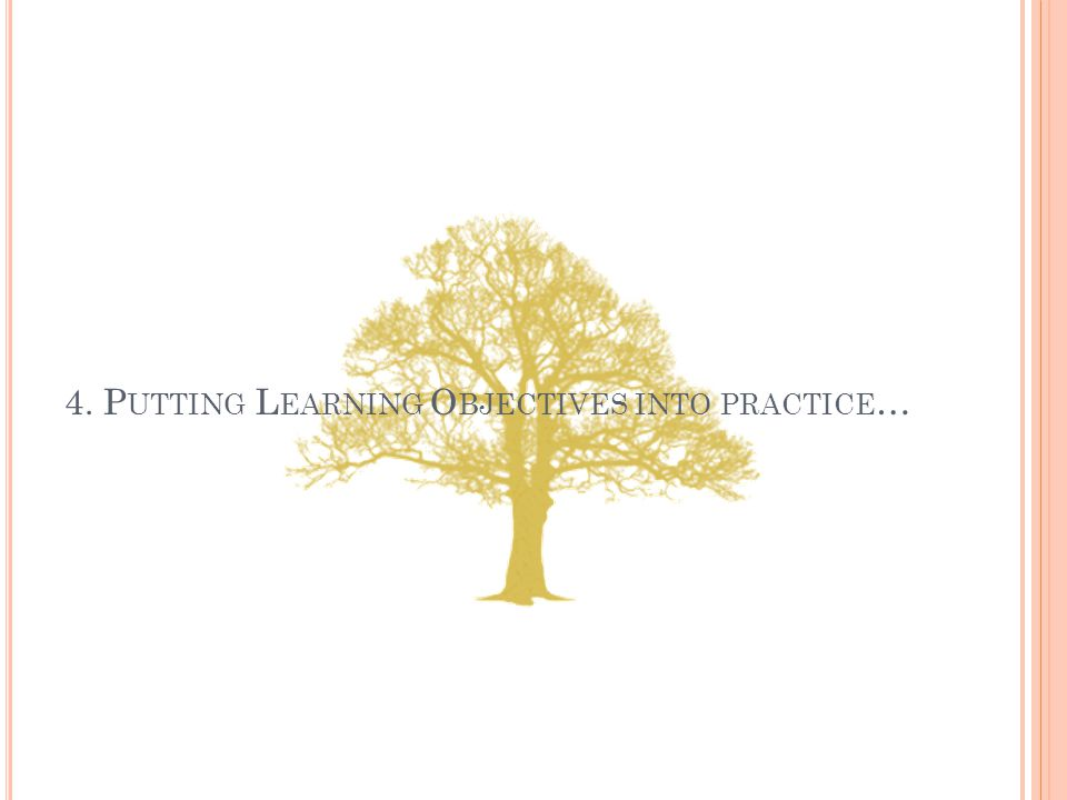 4. P UTTING L EARNING O BJECTIVES INTO PRACTICE …