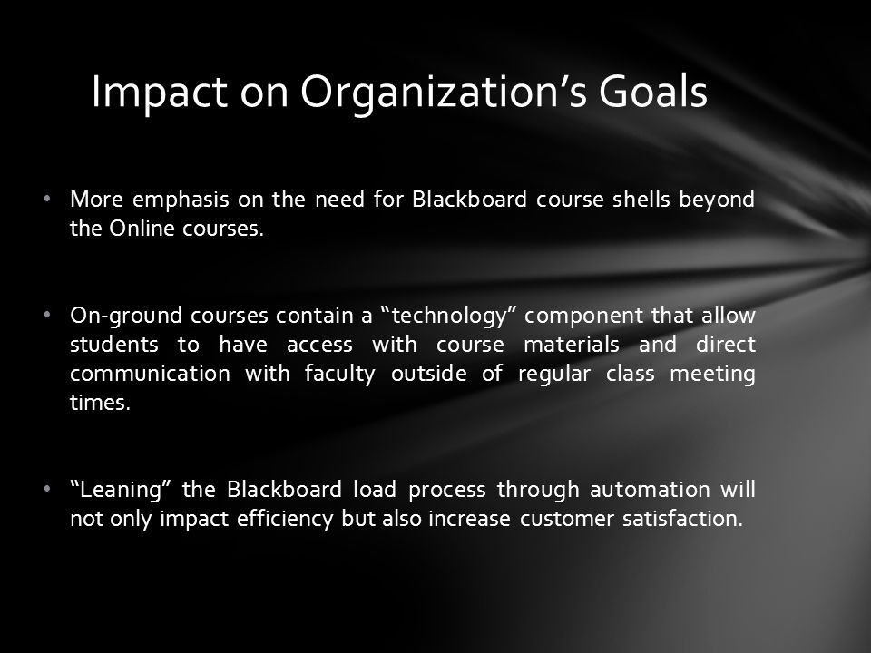 More emphasis on the need for Blackboard course shells beyond the Online courses.