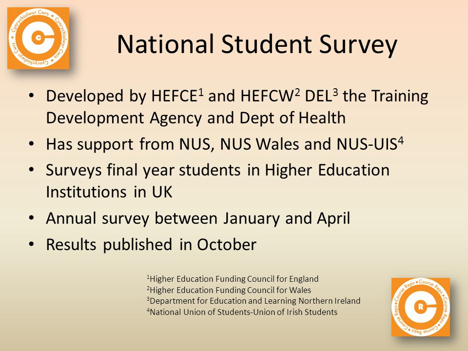 National Student Survey Developed by HEFCE 1 and HEFCW 2 DEL 3 the Training Development Agency and Dept of Health Has support from NUS, NUS Wales and NUS-UIS 4 Surveys final year students in Higher Education Institutions in UK Annual survey between January and April Results published in October 1 Higher Education Funding Council for England 2 Higher Education Funding Council for Wales 3 Department for Education and Learning Northern Ireland 4 National Union of Students-Union of Irish Students